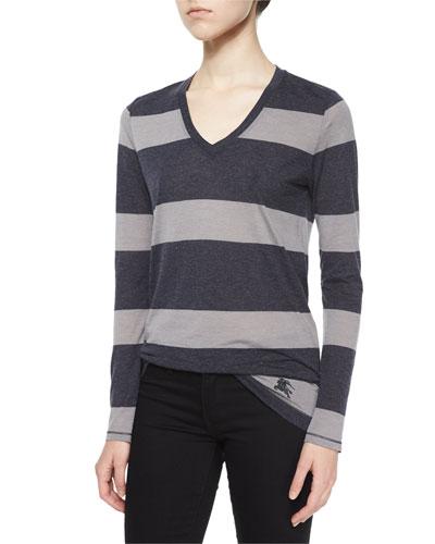 Long-Sleeve V-Neck Striped Tee