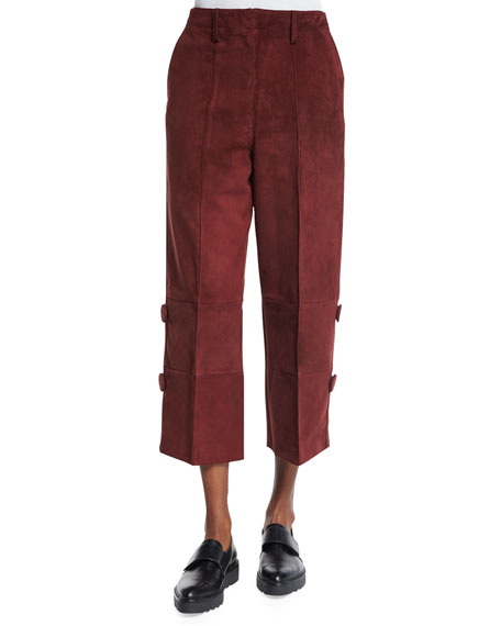 Edun Wide-Leg Cropped Skater Pants, Burgundy