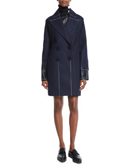 Double-Breasted Slim-Fit Peacoat, Navy