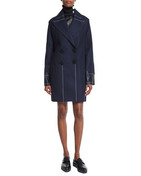 Edun Double-Breasted Slim-Fit Peacoat, Navy