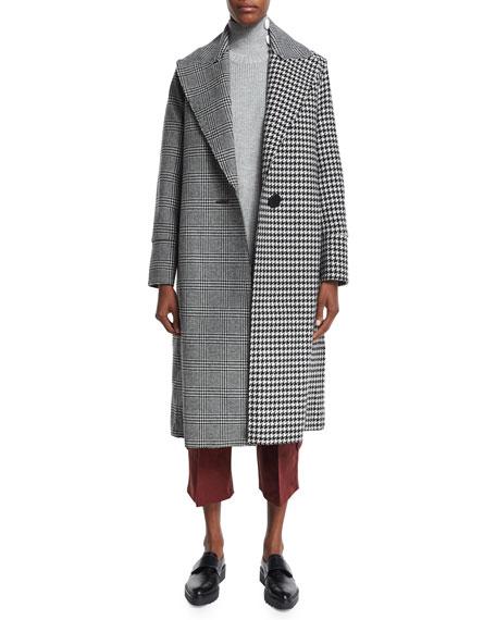 Edun Raw-Edge Plaid & Houndstooth Long Coat, Gray