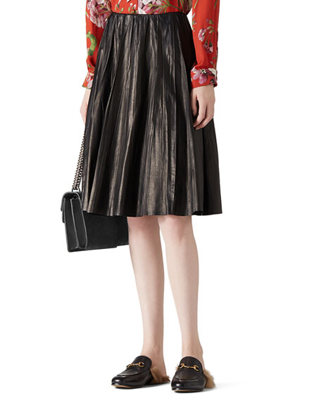 Gucci Creased Leather Skirt