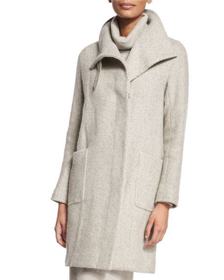 Long-Sleeve Textured Coat, Pale Gray Melange
