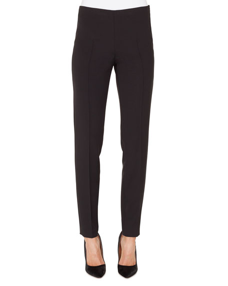 Melissa Silk-Satin Stretch Pants, Black