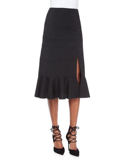 Altuzarra Paneled Ruffle-Hem Slit Midi Skirt