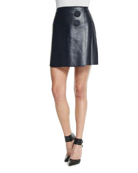 Adam Lippes A-Line Leather Mini Wrap Skirt, Navy