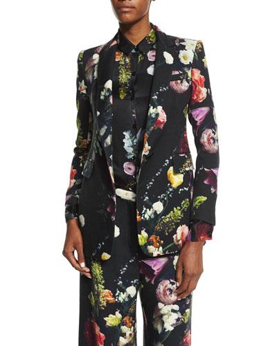 Floral-Print Twill Jacket