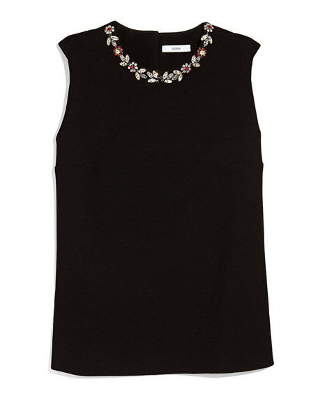 Sleeveless Floral Jeweled Top