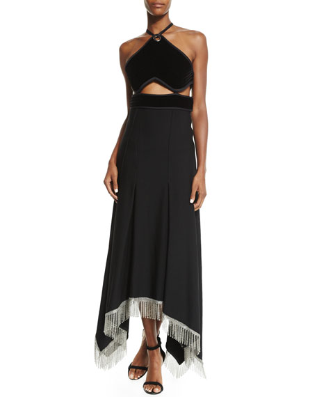 Alexander Wang Halter-Neck Gown W/Chainmail Hem, Black