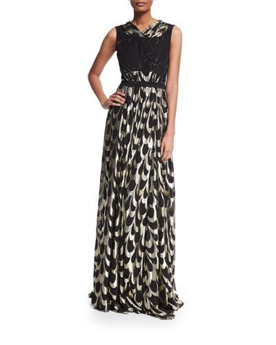 Swarovski® Beaded Wave-Print Gown