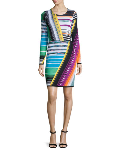 Long-Sleeve Intarsia Sheath Dress, Black/Brite/Multi Colors
