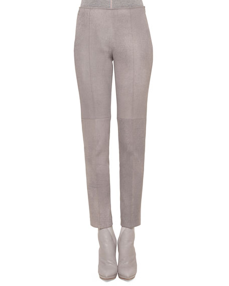 Akris Melissa Antique-Finished Leather Pants