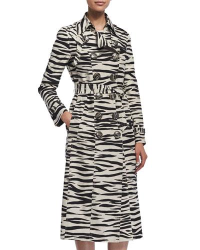Zebra-Print Taffeta Trenchcoat, Black/White