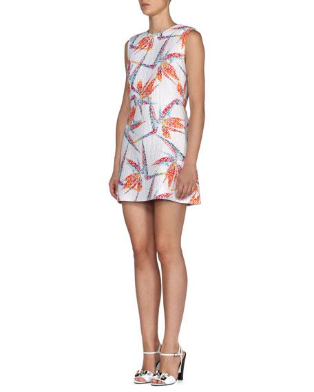 Fendi Quilted Bird of Paradise Mini Sheath Dress, White/Multi