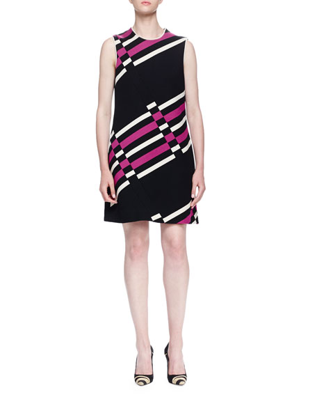 Lanvin Uneven Striped Shift Dress