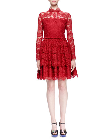 Lanvin Floral Lace-Tiered Fit-And-Flare Dress