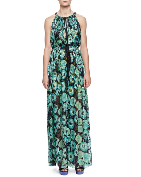 Lanvin Floral-Print Tassel Drawstring-Neck Maxi Dress