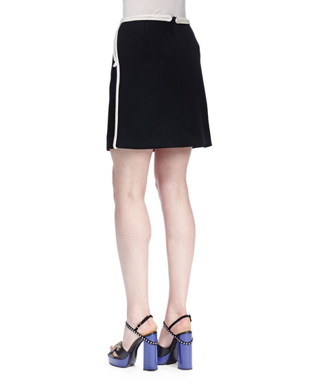 Twill Mini Skirt w/ Rope Trim, Black