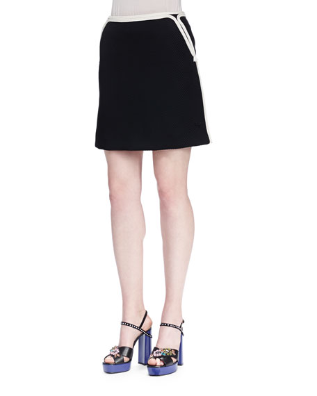 Lanvin Twill Mini Skirt w/ Rope Trim, Black