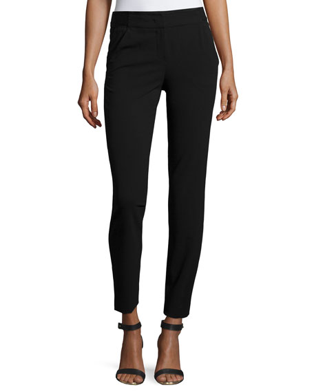 Armani Collezioni Cady Side-Zip Skinny Pants, Black