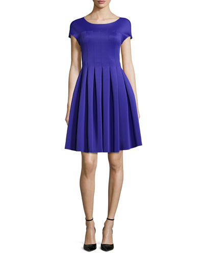 Seamed Jersey Fit-And-Flare Dress, Purple