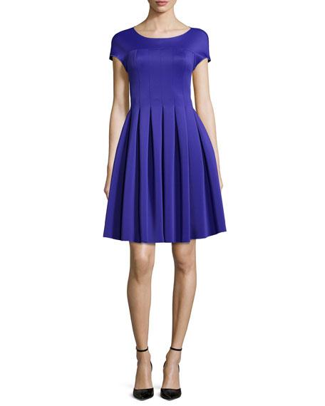 Armani Collezioni Seamed Jersey Fit-And-Flare Dress, Purple