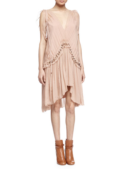 Chloe Beaded Grecian Crepe Dress