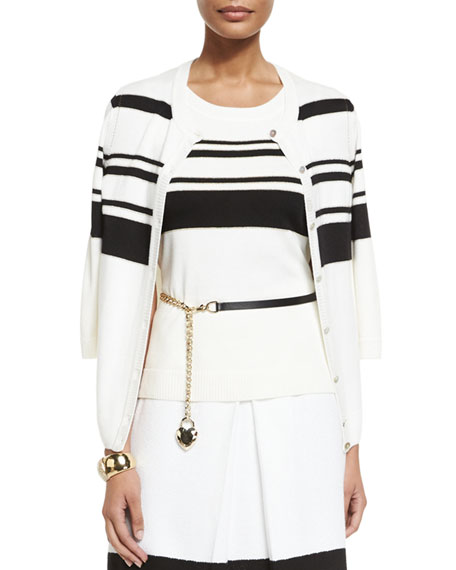 St. John Collection Leather Curb Chain Hip Belt