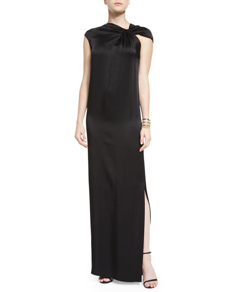 St. John Collection Asymmetric Drape-Front Liquid Satin Gown,
