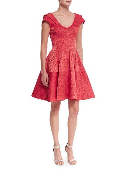 Zac Posen Pleated Leopard Jacquard Fit-And-Flare Dress