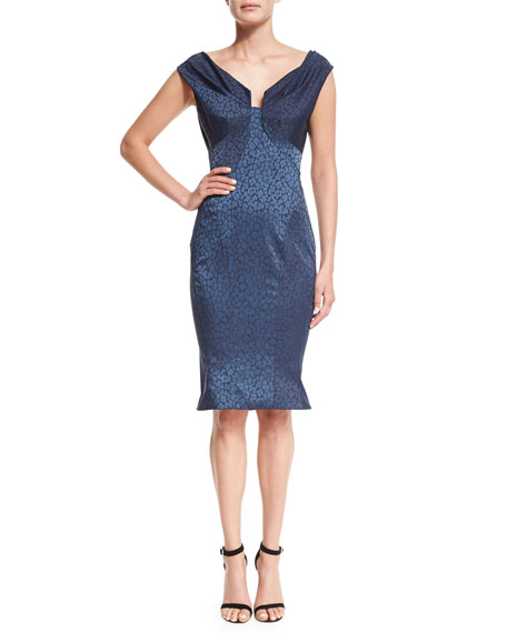 Zac Posen Ruched Leopard Jacquard Fluted Dress