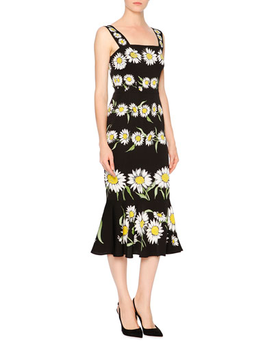Daisy-Print Flounce-Hem Dress, Black/White/Green