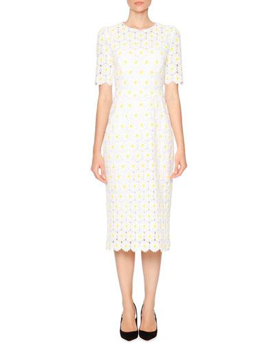 Macrame Embroidered-Daisy Sheath Dress, White/Yellow