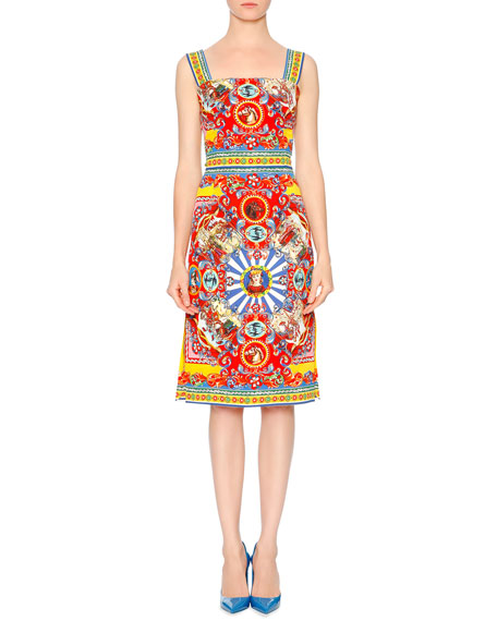 Dolce & Gabbana Sleeveless Carretto-Print Dress, Red/Yellow/Blue