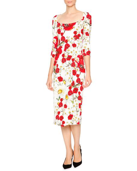 Dolce & Gabbana Open-Neck Poppy & Daisy Cady Sheath Dress, Red/White/Yellow