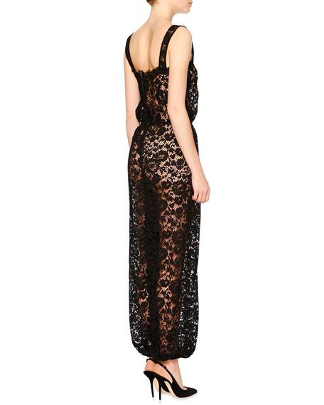 Dolce & Gabbana Sleeveless Square-Neck Lace Jumpsuit, Black
