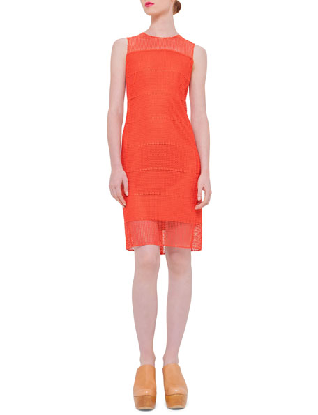 Akris Sleeveless Embroidered Sheath Dress, Zinnia