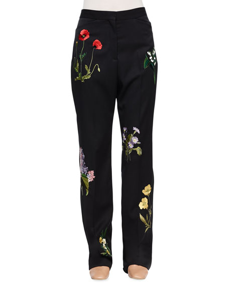 Stella McCartney Floral-Embroidered Tuxedo Trousers, Black