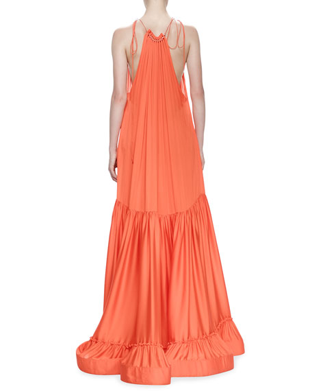 Plisse Full-Skirt Halter Gown, Poppy