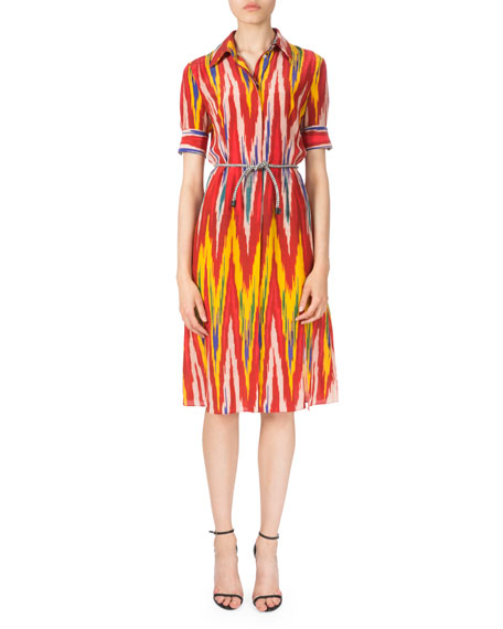 Altuzarra Short-Sleeve Belted Ikat-Print Dress, Multi Colors