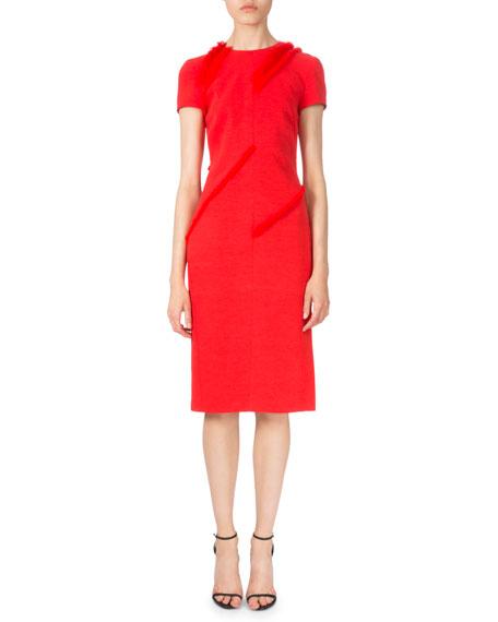 Altuzarra Diagonal-Fringe Short-Sleeve Dress, Poppy Red