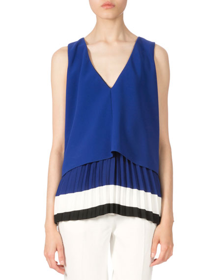 Altuzarra Colorblock Pleated-Hem Blouse, Cobalt