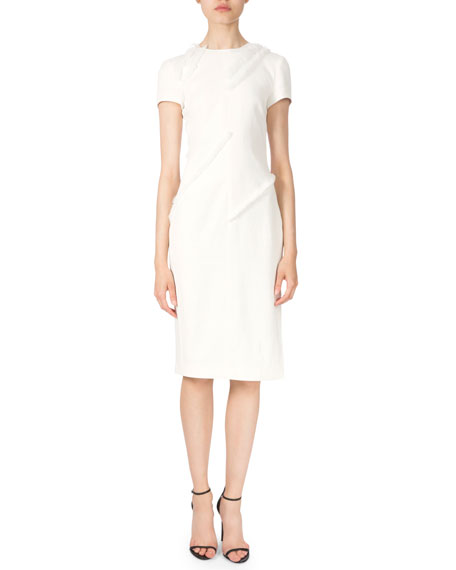 Altuzarra Short-Sleeve Fringe-Trim Sheath Dress, Natural White