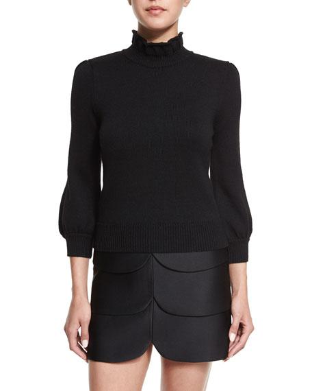 Co 3/4-Sleeve Mock-Neck Sweater, Black