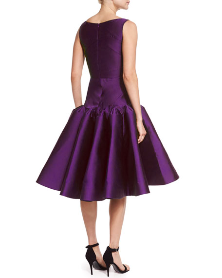 Scoop-Neck Structured Cocktail Dress, Grape