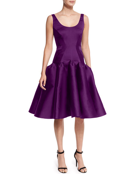 Zac Posen Scoop-Neck Structured Cocktail Dress, Grape