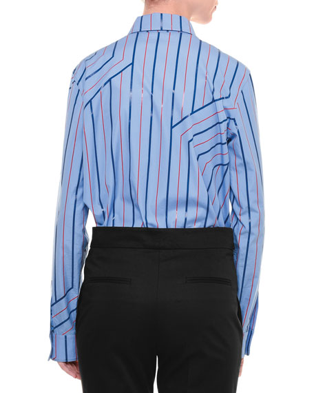 Skinny-Stripe Button-Front Blouse, Blue/Red