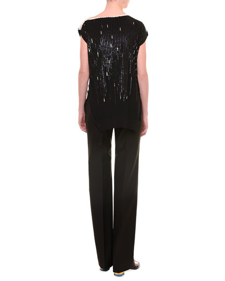 Cap-Sleeve Sequined Top, Black