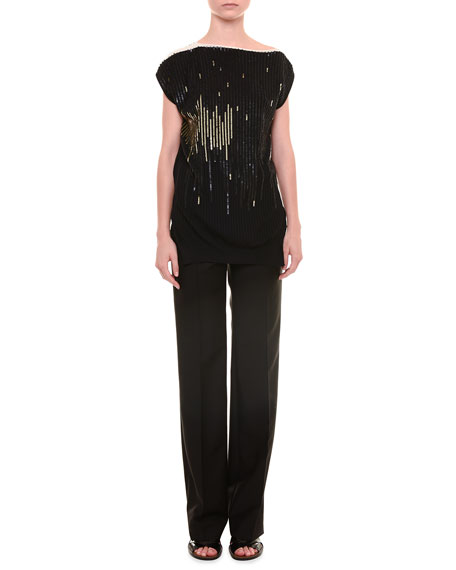Jil Sander Cap-Sleeve Sequined Top & Alfred Mid-Rise