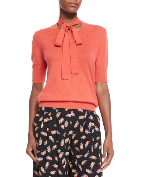 Half-Sleeve Neck-Tie Cashmere Sweater, Coral